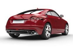 Luxury Dark Red Car - Back View Stock Photo