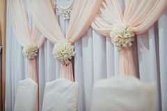 Luxury decorated main table in the wedding hall Stock Photo