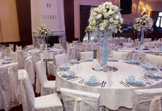 Luxury decorated tables at rich wedding reception. stylish arran Stock Photography