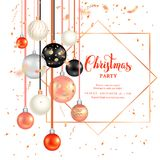 Dark holiday template-05. Luxury decoration with balls winter holiday background. Bright Christmas template for banners, advertising, leaflet, cards, greeting Royalty Free Stock Image