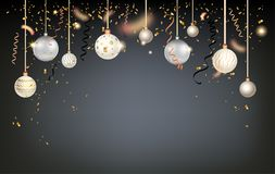 Beautiful christmas balls. Luxury decoration with balls winter holiday background. Dark Christmas template for banners, advertising, leaflet, cards, greeting Stock Image
