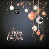 Beautiful christmas balls on black. Luxury decoration with balls winter holiday background. Dark Christmas template for banners, advertising, leaflet, cards Royalty Free Stock Image