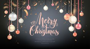 Very Beautiful christmas balls. Luxury decoration with balls winter holiday background. Dark Christmas template for banners, advertising, leaflet, cards Stock Image
