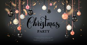 Dark beautiful christmas balls. Luxury decoration with balls winter holiday background. Dark Christmas template for banners, advertising, leaflet, cards Royalty Free Stock Photos