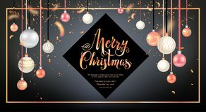 Beautiful christmas balls card. Luxury decoration with balls winter holiday background. Dark Christmas template for banners, advertising, leaflet, cards Stock Photography