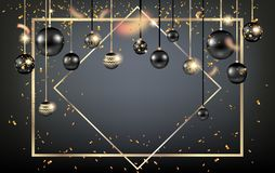 Golden holiday frame-05. Luxury decoration with balls winter holiday background. Dark Christmas template for banners, advertising, leaflet, cards, greeting Stock Photos