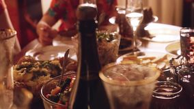 Luxury decoration on celebrating table. Romantic party in slowmotion with blurred bokeh. 1920x1080 stock video footage