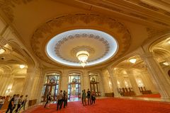 Luxury decoration and marble for Ceausescu Palace. Biggest building after the Pentagone, Ceausescu Palace is an example of dictator megalomania royalty free stock photos