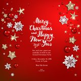 Holiday red shine background. Luxury decoration with stars, snowflakes and balls winter holiday invitation. Template Christmas red background for banners Stock Photos