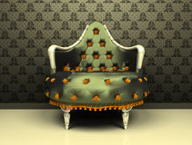 Luxury decorative armchair on ornament. Wallpaper background Royalty Free Illustration