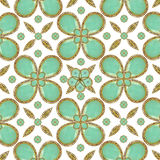 Luxury Decorative Artwork. Ornament fancy pattern with ornate symbols motif in green and yellow tones in white background Stock Photo
