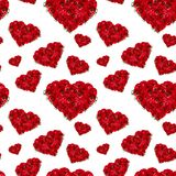 Luxury deep red flowers as hearts seamless pattern on white backdrop. Valentine day love background. Royalty Free Stock Images