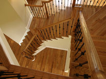 Luxury Descending Wooden Staircase Royalty Free Stock Photos