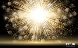 Luxury Design. Gold Explosion on Black Background. Shining Motion Holiday Nightclub & Party Card. Stock Image