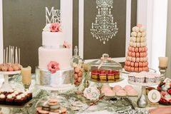 Luxury design of the wedding table with sweets Stock Photo