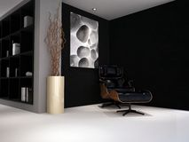 A luxury designed study lounge room. A modern classic reading chair in a study lounge painted black and grey royalty free stock photos