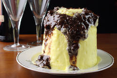 Luxury dessert. Luxury vanila dessert with chocolate and nuts Royalty Free Stock Photos