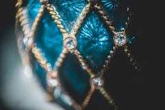 Luxury diamond in a blue sapphire royalty free stock photo
