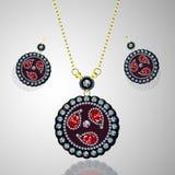 Luxury diamond necklace and earring. On Grey Background stock illustration