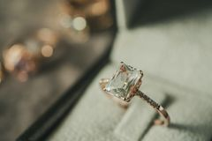 Luxury diamond ring in jewelry box vintage style. Close up royalty free stock images