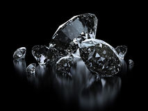Luxury diamonds on black background. S - clipping path included Stock Photos