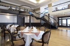 Luxury dining hall interior Royalty Free Stock Images