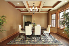 Luxury dining room. Dining room in luxury home with wood beams Royalty Free Stock Images