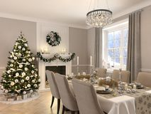 Luxury dining room with christmas decoration by day. 3d rendering. 3d rendering. luxury dining room with christmas decoration Royalty Free Stock Photography