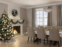 Luxury dining room with christmas decoration by day. 3d rendering. 3d rendering. luxury dining room with christmas decoration Stock Image