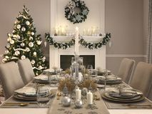 Luxury dining room with christmas decoration by day. 3d rendering. 3d rendering. luxury dining room with christmas decoration Stock Photos