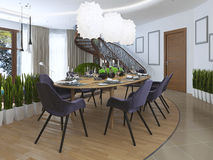 Luxury dining room in a contemporary style. Royalty Free Stock Image