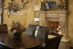 Luxury dining room fireplace Royalty Free Stock Images