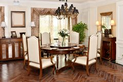 Luxury dining room furniture stock images