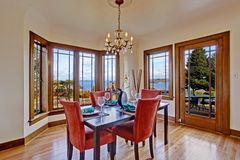 Luxury dining room interior with served table Stock Images