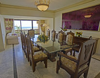 Luxury dining room with a sea view Royalty Free Stock Photos