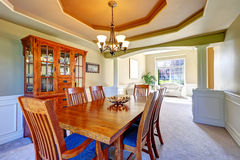 Luxury dining room with white columns and coffered ceiling Stock Photo