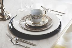 Luxury dining table set. At home Royalty Free Stock Image