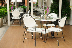 Luxury dinner tables sets outside restaurants, Thailand. Stock Photography