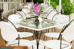 Luxury dinner tables sets outside restaurants, Thailand. Royalty Free Stock Photos