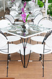 Luxury dinner tables sets outside restaurants, Thailand. Royalty Free Stock Images