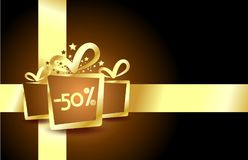 Luxury discount card with golden presents Stock Photography