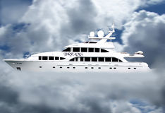 Luxury dream yacht in clouds. A view of a large, white luxury yacht appearing to float in clouds Royalty Free Stock Photos