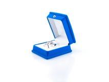 Luxury Earrings In Blue Velvet Jewelry Box Royalty Free Stock Photo