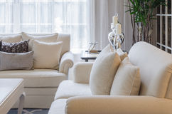 Luxury earth tone living room at home Royalty Free Stock Photography
