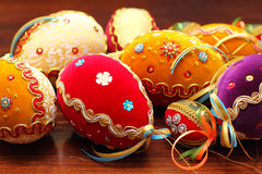 Luxury Easter Eggs. Trimmed with velor, lace, sequins, beads stock images