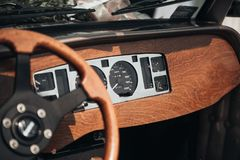 Retro torpedo wedding car with wooden decorations. stock images
