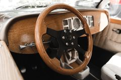 Retro torpedo wedding car with wooden decorations. stock photography