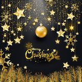 Luxury Elegance gold glitter Merry Christmas and Happy New Year typography design for banner, invitation, greeting card. Gold Glitter Merry Christmas and Happy royalty free illustration