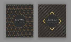 Luxury elegant cover with geometric designs and trendy gold lines on the black background . Vector illustration. Template for pack stock illustration
