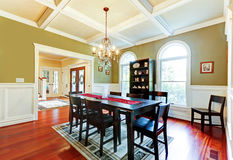 Luxury elegant green dining room with cherry floor. Stock Image